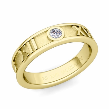 Solitaire Diamond Roman Numeral Wedding Ring in 18k Gold, 5mm