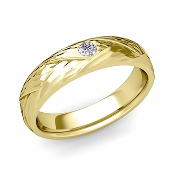 Solitaire Diamond Anniversary Ring in 18k Gold Hammered Wedding Band, 5mm