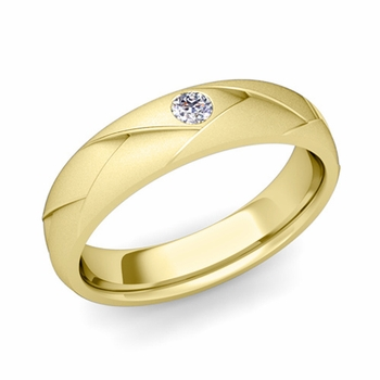 Solitaire Diamond Anniversary Ring in 18k Gold Satin Wedding Band, 5mm