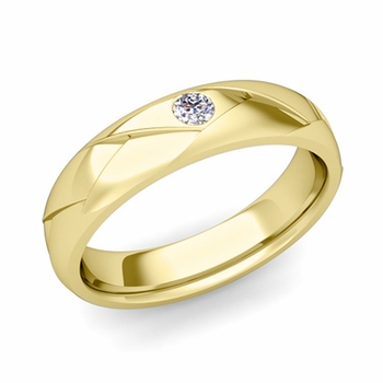 Solitaire Diamond Anniversary Ring in 18k Gold Shiny Wedding Band, 5mm