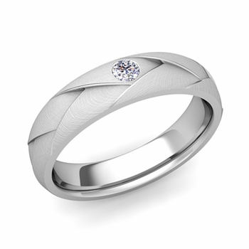 Solitaire Diamond Anniversary Ring in Platinum Brushed Wedding Band, 5mm
