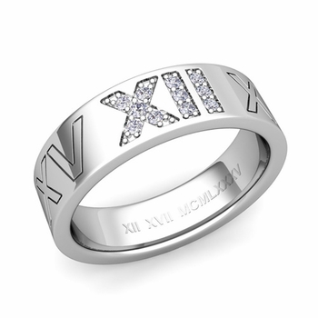 Roman Numeral Wedding Ring with Pave Set Diamond in Platinum