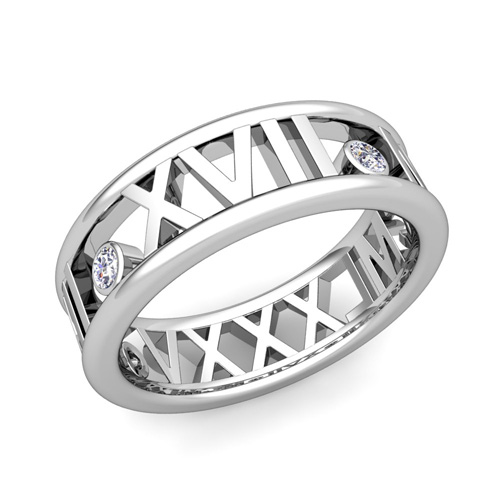 De Love Roman Numeral Wedding Band Platinum 3 Stone Diamond Ring