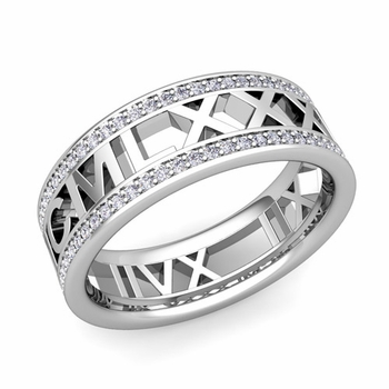 Roman Numeral Diamond Wedding Eternity Band Ring in Platinum