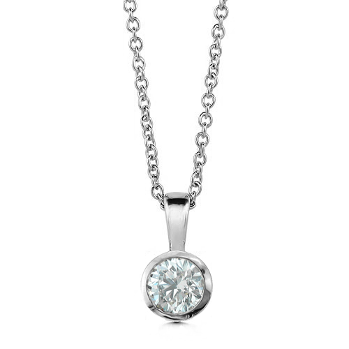 Diamond solitaire pendant 14k white gold chain bezel set 025 ct bezel set diamond solitaire pendant aloadofball Choice Image