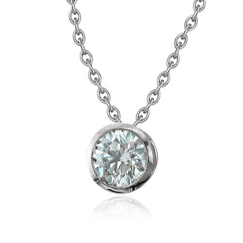 Diamond solitaire pendant bezel set 14k white gold chain 050 ct order now ships on tuesday 424order now ships in 4 business days solitaire diamond necklace in 14k white gold bezel set mozeypictures Image collections