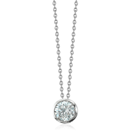 round pendant solitaire with necklace necklaces platinum diamond baunat en carat