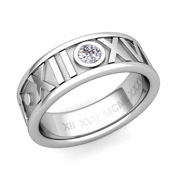 Solitaire Diamond Roman Numeral Wedding Ring in 14k Gold, 7mm