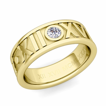 Solitaire Diamond Roman Numeral Wedding Ring in 18k Gold, 7mm