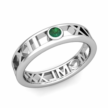Bezel Set Emerald Roman Numeral Wedding Ring in 14k Gold, 5mm