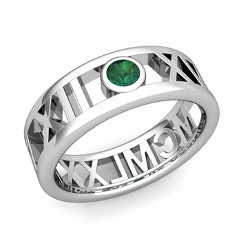 Bezel Set Emerald Roman Numeral Wedding Ring in 14k Gold, 7mm
