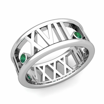 3 Stone Emerald Roman Numeral Wedding Ring in 14k Gold, 9mm