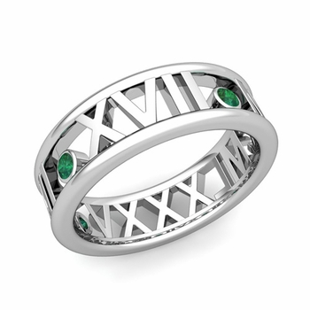3 Stone Emerald Roman Numeral Wedding Ring in 14k Gold, 7mm