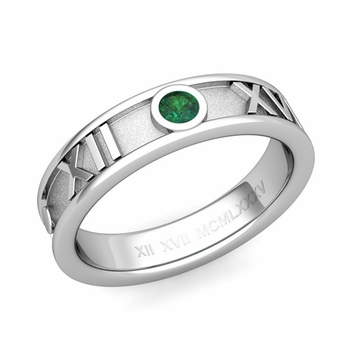 Solitaire Emerald Roman Numeral Wedding Ring in 14k Gold, 5mm