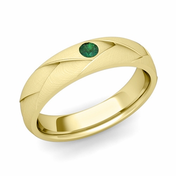 Solitaire Emerald Anniversary Ring in 18k Gold Brushed Wedding Band, 5mm
