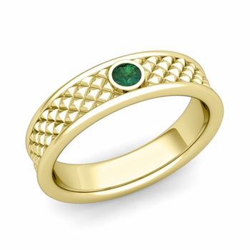 Solitaire Emerald Anniversary Ring in 18k Gold Diamond Cut Wedding Band, 5.5mm