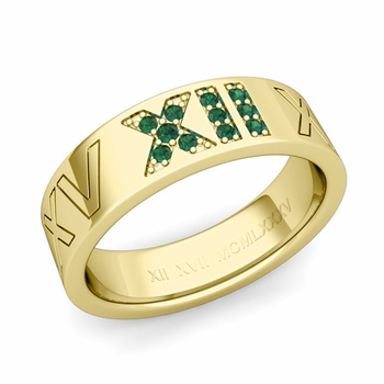 Roman Numeral Wedding Ring with Pave Set Emerald in 18k Gold