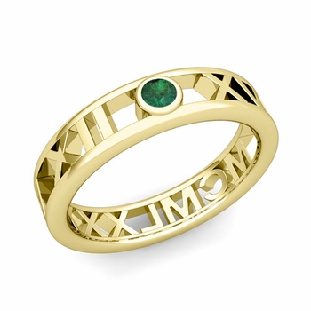 Bezel Set Emerald Roman Numeral Wedding Ring in 18k Gold, 5mm