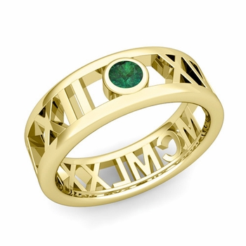 Bezel Set Emerald Roman Numeral Wedding Ring in 18k Gold, 7mm