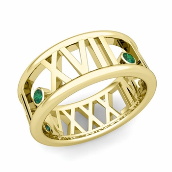 3 Stone Emerald Roman Numeral Wedding Ring in 18k Gold, 9mm
