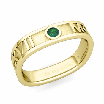 Square Roman Numeral Emerald Wedding Band in 18k Gold, 5mm