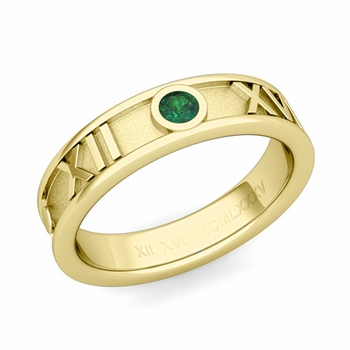 Solitaire Emerald Roman Numeral Wedding Ring in 18k Gold, 5mm