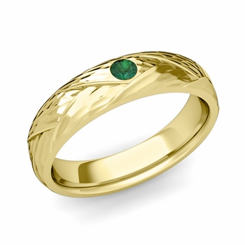 Solitaire Emerald Anniversary Ring in 18k Gold Hammered Wedding Band, 5mm