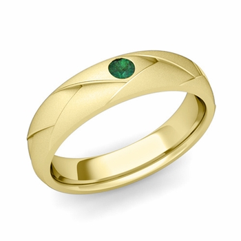 Solitaire Emerald Anniversary Ring in 18k Gold Satin Wedding Band, 5mm