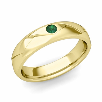 Solitaire Emerald Anniversary Ring in 18k Gold Shiny Wedding Band, 5mm