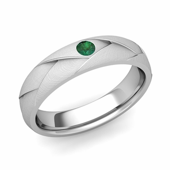 Solitaire Emerald Anniversary Ring in Platinum Brushed Wedding Band, 5mm
