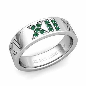 Roman Numeral Wedding Ring with Pave Set Emerald in Platinum