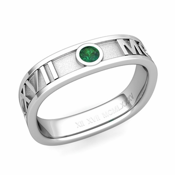 Square Roman Numeral Emerald Wedding Band in Platinum, 5mm