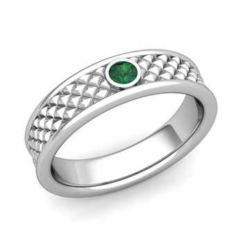 Solitaire Emerald Anniversary Ring in Platinum Diamond Cut Wedding Band, 5.5mm