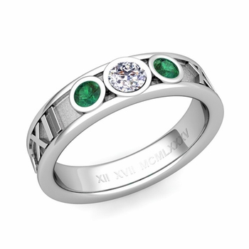 3 Stone Diamond and Emerald Roman Numeral Wedding Ring in Platinum