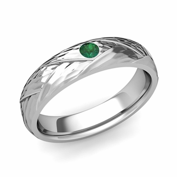Solitaire Emerald Anniversary Ring in Platinum Hammered Wedding Band, 5mm
