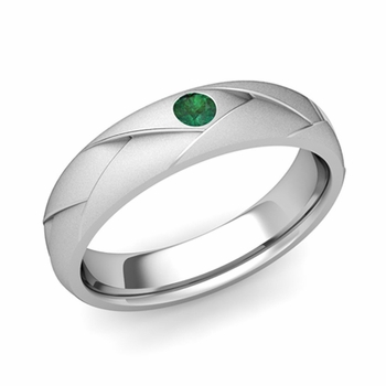 Solitaire Emerald Anniversary Ring in Platinum Satin Wedding Band, 5mm
