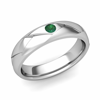 Solitaire Emerald Anniversary Ring in Platinum Shiny Wedding Band, 5mm