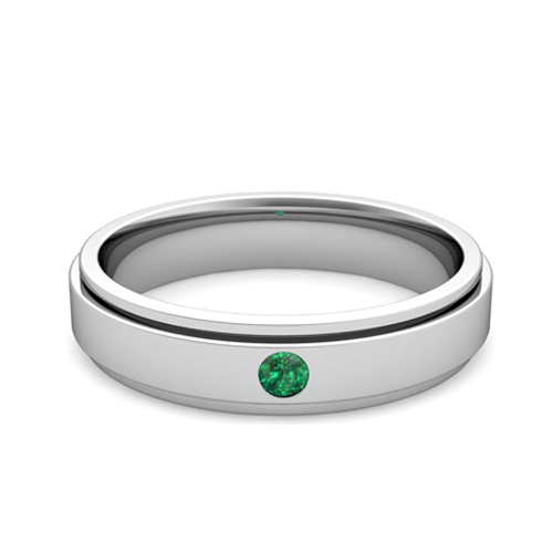 solitaire emerald mens wedding ring in 14k gold comfort