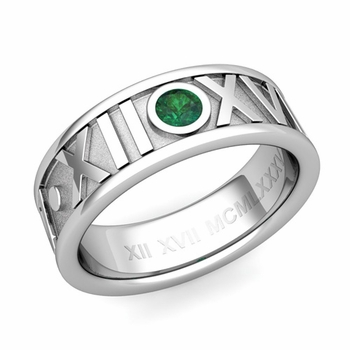 Solitaire Emerald Roman Numeral Wedding Ring in 14k Gold, 7mm
