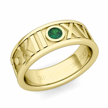 Solitaire Emerald Roman Numeral Wedding Ring in 18k Gold, 7mm