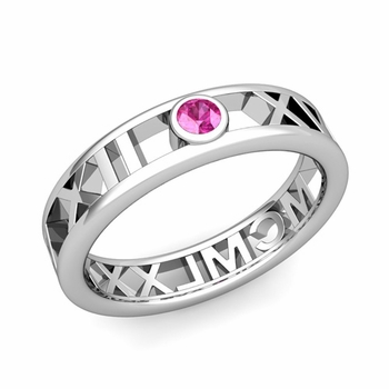 Bezel Set Pink Sapphire Roman Numeral Wedding Ring in 14k Gold, 5mm