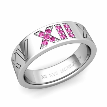 Roman Numeral Wedding Ring with Pave Set Pink Sapphire in 14k Gold