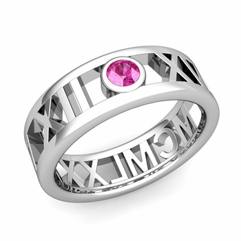 Bezel Set Pink Sapphire Roman Numeral Wedding Ring in 14k Gold, 7mm