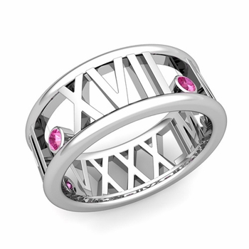 3 Stone Pink Sapphire Roman Numeral Wedding Ring in 14k Gold, 9mm