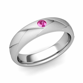 Solitaire Pink Sapphire Anniversary Ring in 14k Gold Satin Wedding Band, 5mm