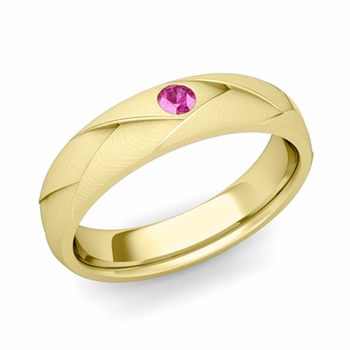 Solitaire Pink Sapphire Anniversary Ring in 18k Gold Brushed Wedding Band, 5mm