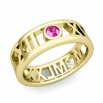 Bezel Set Pink Sapphire Roman Numeral Wedding Ring in 18k Gold, 7mm