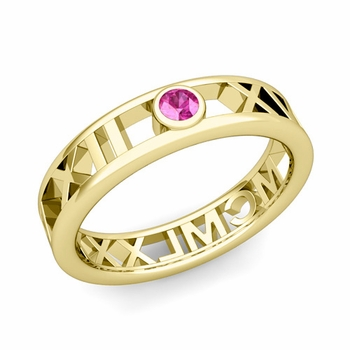 Bezel Set Pink Sapphire Roman Numeral Wedding Ring in 18k Gold, 5mm