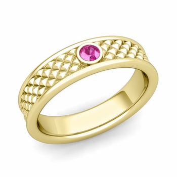Solitaire Pink Sapphire Anniversary Ring in 18k Gold Diamond Cut Wedding Band, 5.5mm