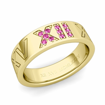 Roman Numeral Wedding Ring with Pave Set Pink Sapphire in 18k Gold